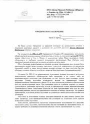 Юридическое заключение по правовым вопросам