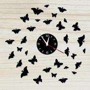 Часы зеркальные настенные много бабочек 46388