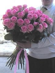 35 розовых роз 70 см
