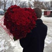 Сердце из 101 красной розы 60 см