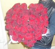 Сердце 55 красных роз 70 см