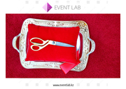 Золотые ножницы с красной лентой в аренду Алматы