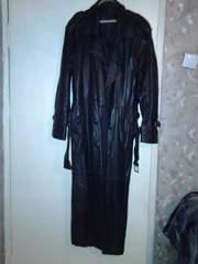 Продам кожаный мужской плащ 52- 54 бу корея