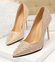 Свадебные туфли со стразами (золото)