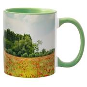 Печать на кружках с зеленой заливкой. Нанесение на кружки с зеленой за