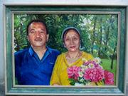 Двойной  портрет по фото ручной работы за доступную цену.